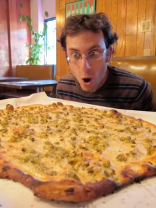 Scott, pondering the mysteries of the universe over a Frank Pepe's White Clam Pizza