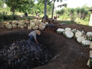 An earthen oven at the Lalocura distillery.