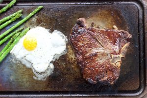 Steak and eggs done on the Steel in just a couple of minutes.