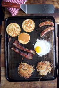 A pretty hearty breakfast, all baked in the oven or over some burners.