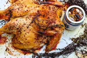 Wood-fire roasted butterflied thyme roasted chicken