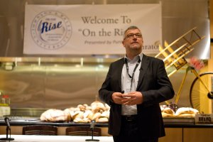 "Stefan Cappelle, of Puratos, giving the keynote address: ""The Future of Bread is Found in It's Past"""