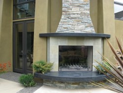 Calore Outdoor Fireplace Tile and Rock Finish