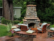 Calore Outdoor Fireplace with Stone