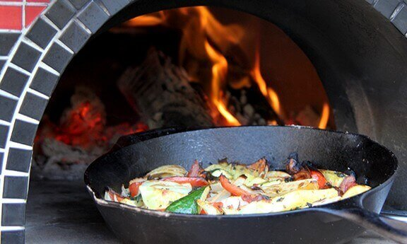 Cast Iron Pan in Wood Fired Oven