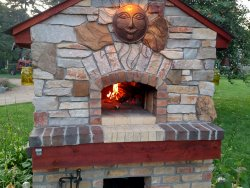 Pompeii DIY Brick Oven Gabled with Brick and Sun Logo