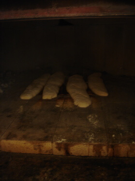 baguette in pizza oven