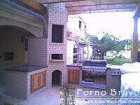 Giardino Outdoor Pizza Oven - Corner Install on Patio - Brick Facade