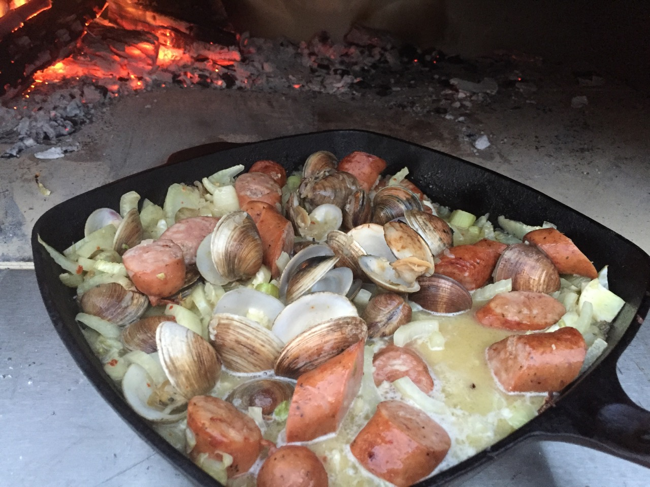 clams and sausage fennel broth wood fired recipe