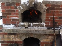 Pompeii diy brick oven with brick exterior in winter