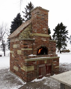 Casa Home Pizza Oven Winter Photo Brick Exterior Julia in IA