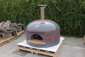 Vevusio100 pizza oven Gray with Texas flag colors