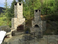 Casa2g90 Pizza Oven and Fireplace with Rock Exterior