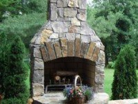 Calore Outdoor Fireplace with Stone Trim