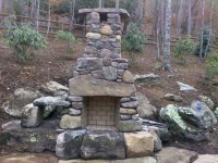 Calore Outdoor Fireplace with Rock Finish