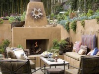 Calore Outdoor Fireplace with Trim Kit - Stucco Finish