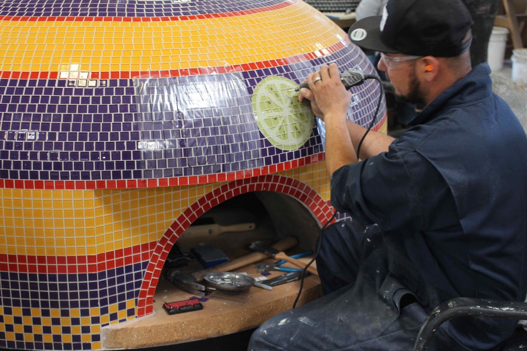 Custom Tiled Pizza Oven Napoli Engraveing