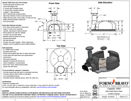 casa2g100 gas pizza oven kit