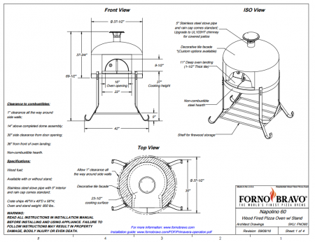 napolino60 outdoor pizza oven drawing