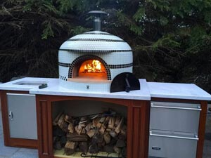 custom tiled Napolino wood oven outside