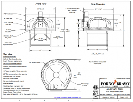 Modena120 FA Commercial Pizza Oven Drawing