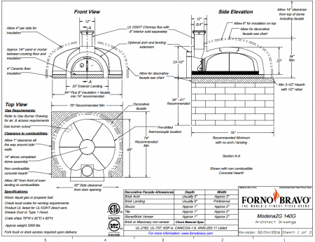 Modena2g140 Commercial Pizza Oven Kit Drawing