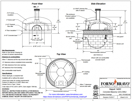 napoli140 countertop commercial pizza oven drawing