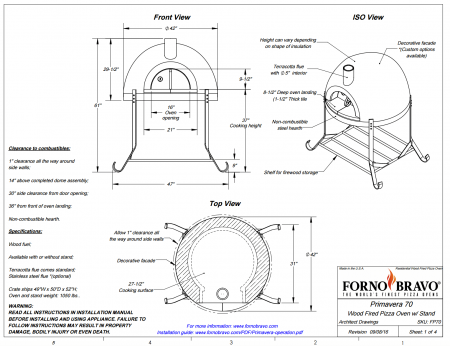 primavera70 outdoor pizza oven drawing