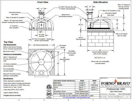 Professionale120 OK Commercial Pizza Oven Kit Drawin