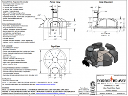Premio110 home pizza oven kit gas or wood drawing