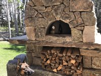 Dog in front of stone pizza oven