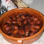 Terracotta pot of Albondigas (Spanish Meatballs)