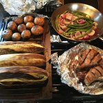Grilled Corn on the cob - Potatoes - Green Beans - Lamb Chops