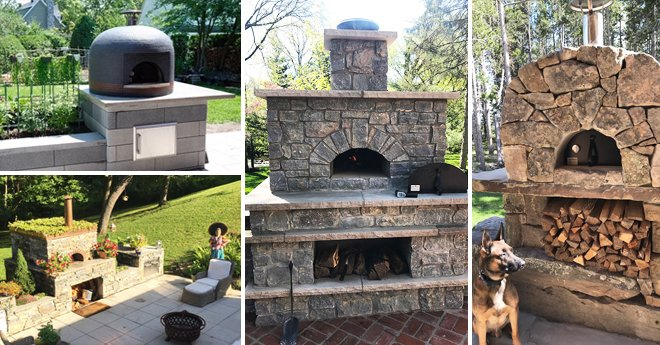 4 picture collage - Forno Bravo Residential Pizza Ovens - German Shepherd