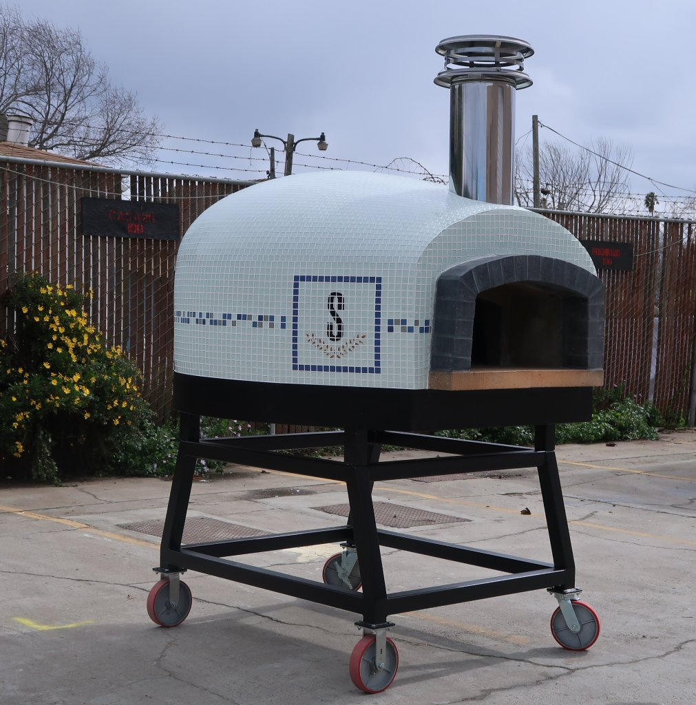 White Roma Pizza Oven on Wheeled Stand