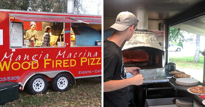 Bi-Pic Red Food Truck - Man cooking pizza inside food truck