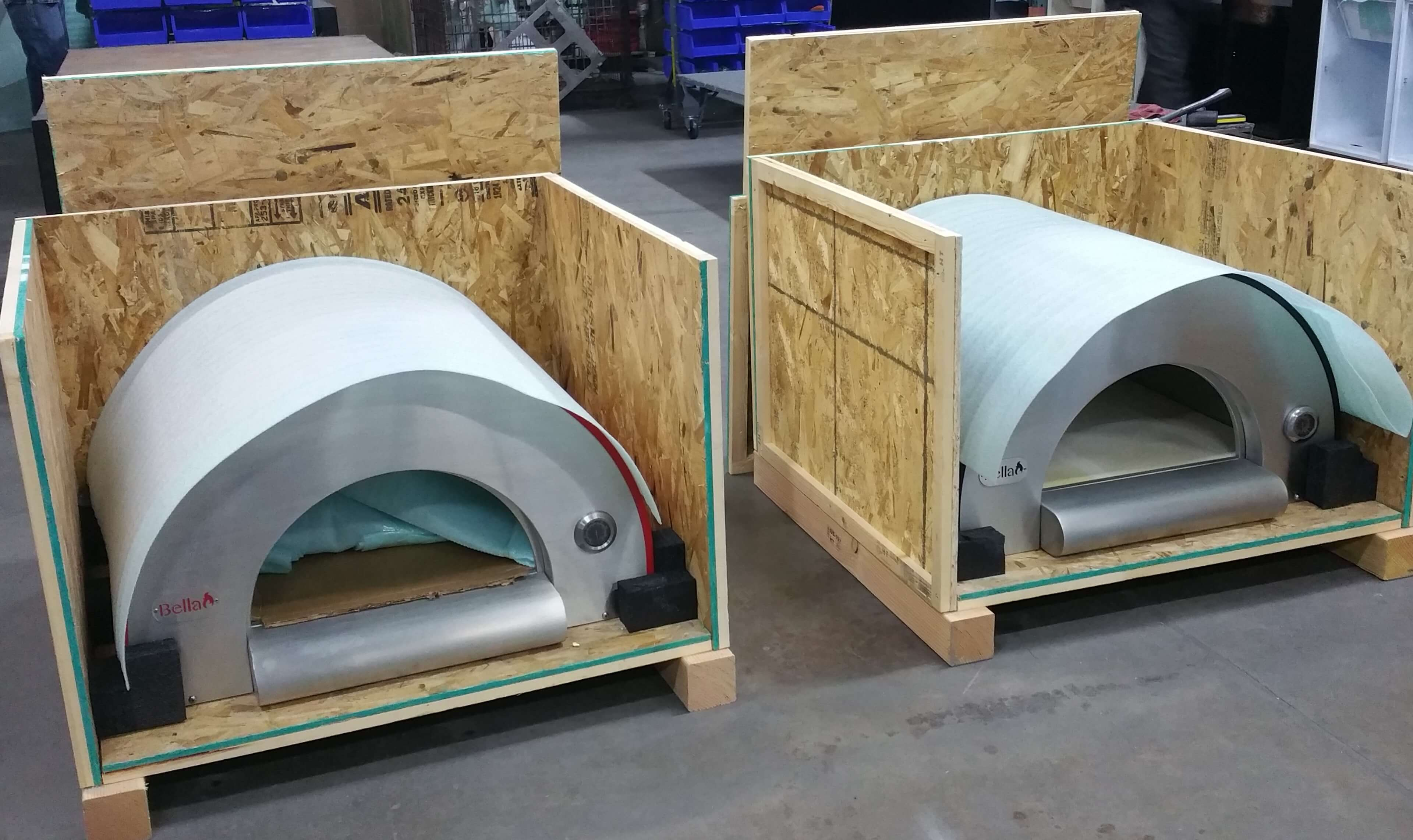 Two Bella Pizza Ovens in Open Crates