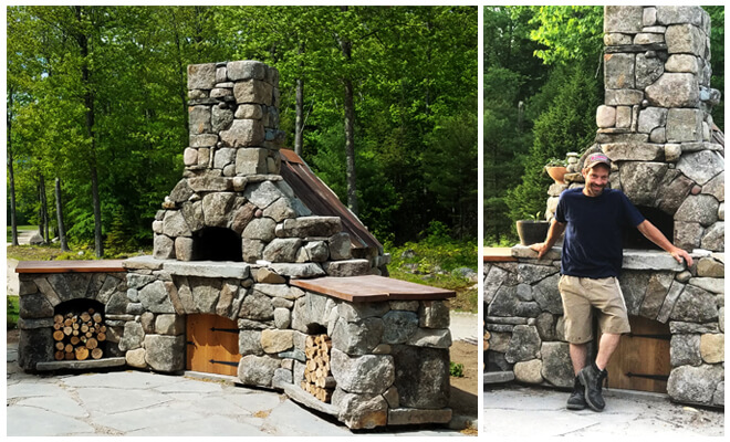 Bi-pic-large stone pizza oven-Man in front of oven