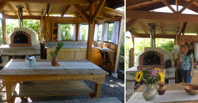 Pizza oven in outdoor kitchen