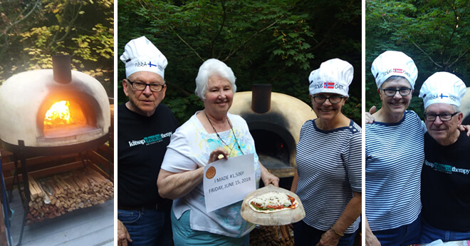 tri-pic of pizza oven and chefs