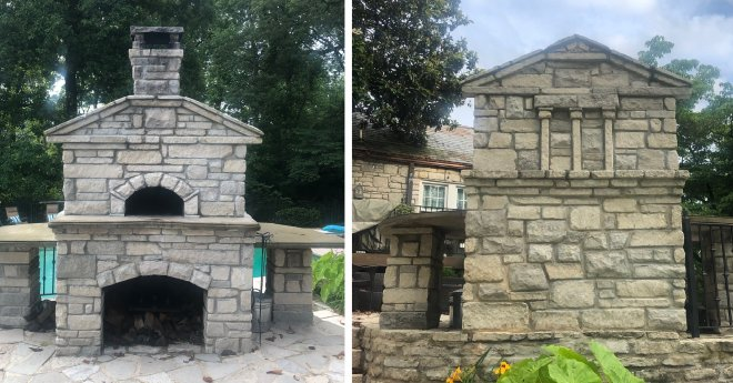 Front and back views of stone pizza oven