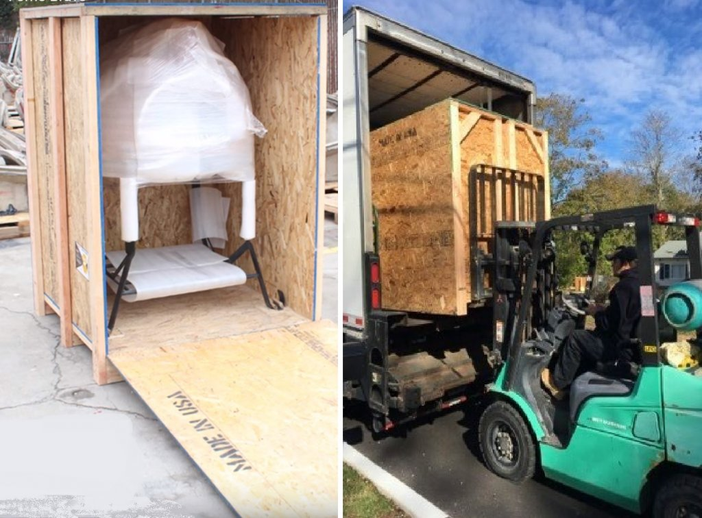 Oven in open crate - crate on forklift