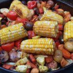 Miscellaneous roasted vegetables-cast iron pan