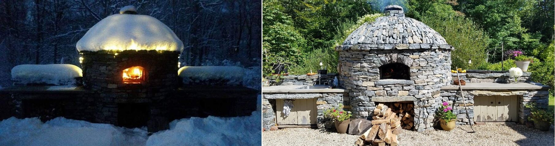 Pizza Oven in Winter and Summer