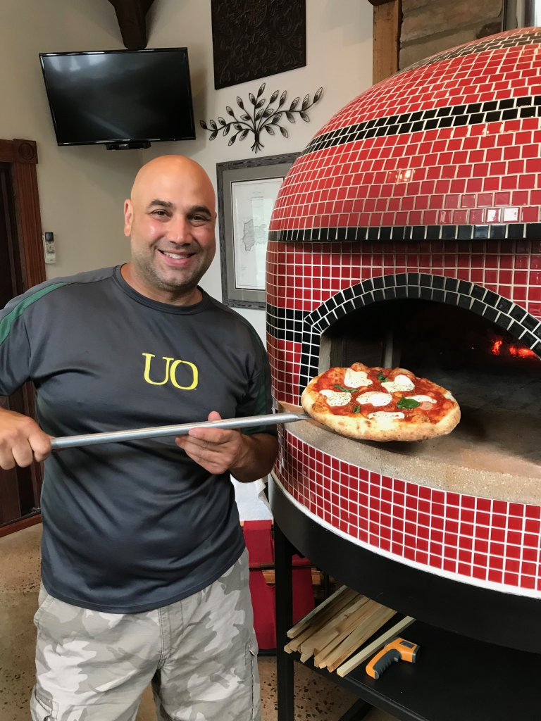 Man-pizza-tile wood fired oven