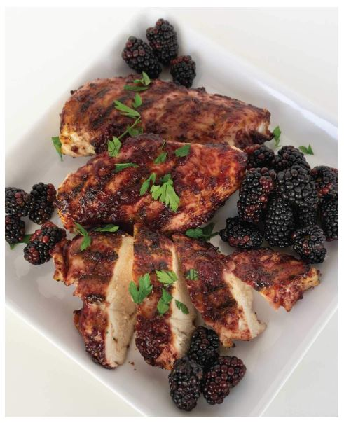Grilled Chicken and Blackberries