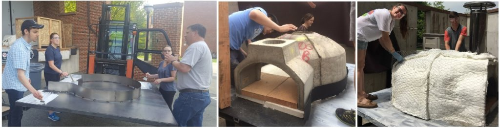 tri-pic of students building mobile pizza oven