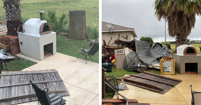 dual picture of backyard damage-pizza oven