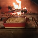 Red dish in wood fired oven