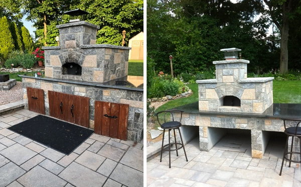 two views-stone pizza oven